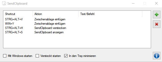 Screenshot von SenClipboard